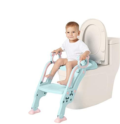 Adaptador WC para Niños con Escalera Antideslizante, Altura Ajustable-Reductor WC/Orinal Plegable para Niños.