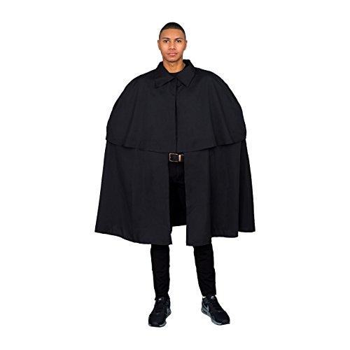 Victorian Era Sherlock Detective Cloak Cape Coat (Adult Standard) Black