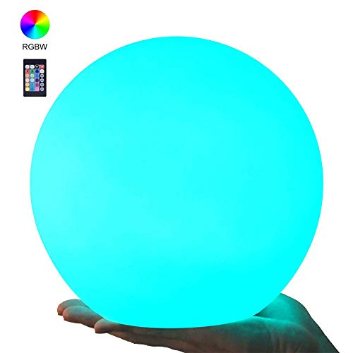 LOFTEK LED RGB Glow Ball: 8-inch Cordless Home Decor Night Lights with Remote Control, Rechargeable Color Changing Orb, for Halloween or Christmas