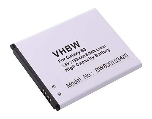 vhbw Li-Ion batteria 2100mAh (3.7V) per cellulari e smartphone Samsung Galaxy S3 Neo sostituisce EB-L1G6LLU, EB-L1G6LLUC.