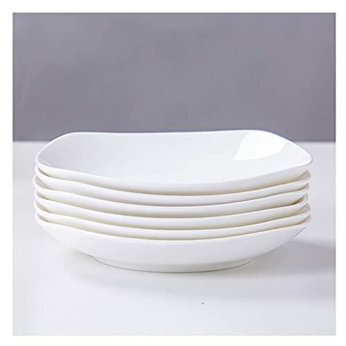 Platos Placas de cena de Pocelain Conjunto de 6 Cocina Juego de vajillas para platos Placas de aperitivo Ensalada y platos de postre Microondas Horno y lavavajillas Caja fuerte (blanco) Vajilla