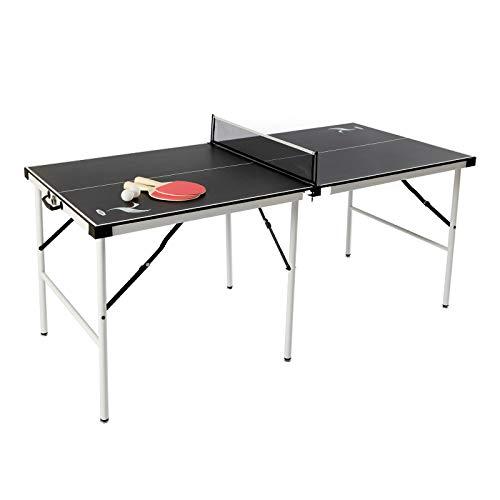 JH Mesa de Ping Pong Plegable para Interior y Exterior Tamaño 152 X 73 X 69 CM Mesa de Ping Pong Mini para los Niños Color Negro