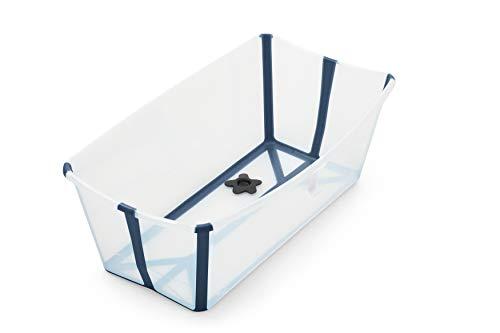 STOKKE® Flexi Bath®│Vasca pieghevole per il bagnetto dei bambini│Vaschetta portatile con base antiscivolo per bambini dai 0 mesi ai 4 anni│Colore: Transparent Blue