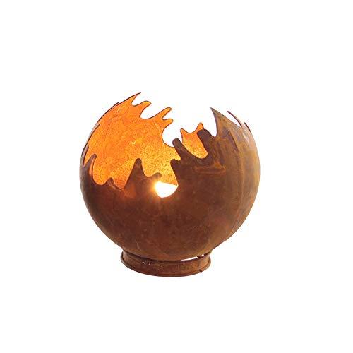 Edelrost Windlicht Feuerkugel Feuerball D15 Rost Metall
