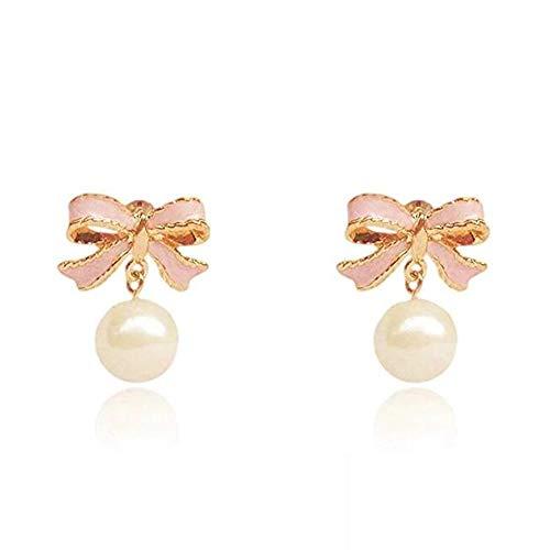 Ohrringe mit rosa Schleife und Perle, Persönlichkeit, Atmosphäre