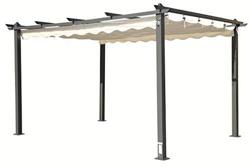 OUTFLEXX hochwertige Pergola aus solidem Aluminium in anthrazit, Dachrohre aus Stahl, Dach aus cremefarbenem Textil, inkl. Abdeckung, ca. 300 x 400 x 255 cm, Schiebedach, modernes Design