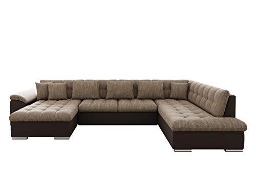 Mirjan24 Eckcouch Ecksofa Niko! Design Sofa Couch! mit Schlaffunktion! U-Sofa Große Farbauswahl! Wohnlandschaft! (Ecksofa Links, Soft 066 + Lawa 02)