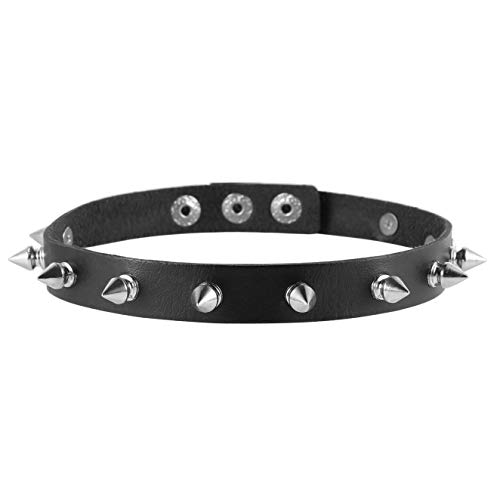 HZMAN Fashion Women Men Cool Punk Goth Metal Spike Studded Leather Collar Choker Necklace Black