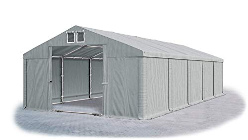 Das Company Lagerzelt 5x10m wasserdicht mit Bodenrahmen und Dachverstärkung grau Zelt 560g/m² PVC Plane hochwertig Zelthalle Summer Plus SD