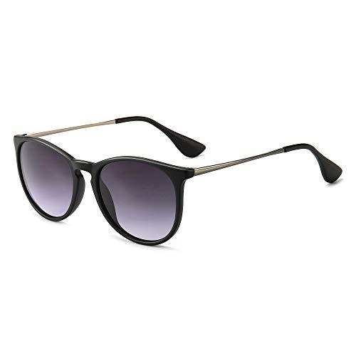 SUNGAIT Gafas de Sol Mujer Hombre Retro Redondas Unisex UV400 Proteccion(Marco Negro/Lente Gradiente Gris)-SGT567