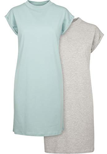 Build Your Brand Ladies Turtle Extended Shoulder Dress Vestido, Verde Menta/Gris, L para Mujer