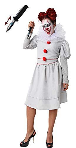 Gojoy shop-Disfraz y Cuchillo de Broma Retráctil de It Payaso Asesino para Mujeres Halloween Carnaval (Contiene Cuchillo, Vestido y Cuello, Talla Unica)