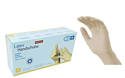 100 Stück Latexhandschuhe rau in Spender-Box – puderfrei, nicht steril – Einweghandschuhe Einmalhandschuhe (S)