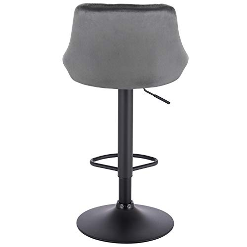 WOLTU BH219dgr-1 1er Barhocker Barstuhl, Gute gepolsterte Sitzfläche aus Samt, Höhenverstellbar, 360° Drehbar, Farbwahl, in Dunkelgrau - 7