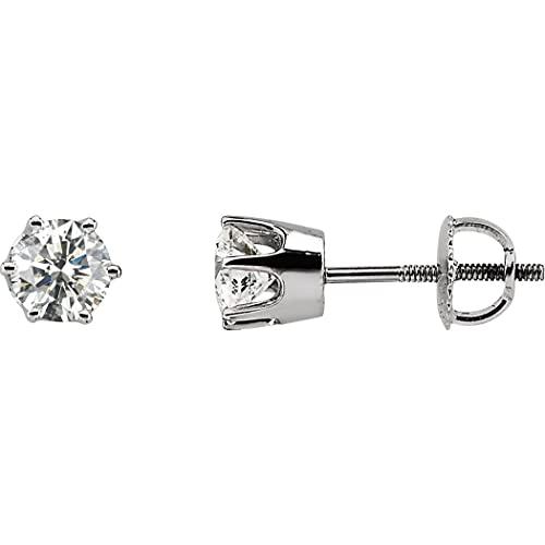 Pendientes de oro blanco de 14 quilates con circonita cúbica redonda de 5 mm y circonita cúbica de imitación de diamantes para mujer