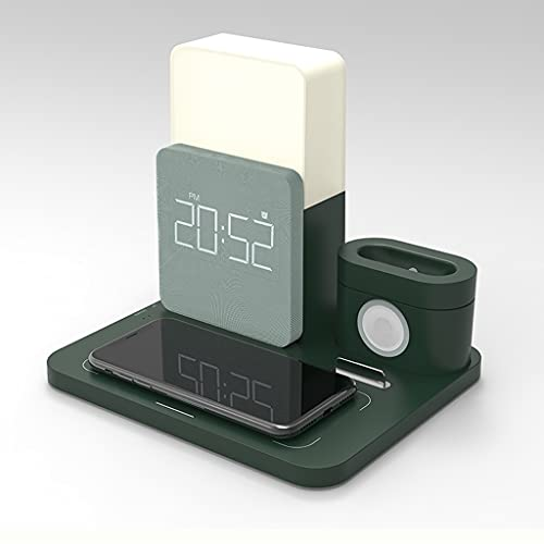GYZX. 多機能ワイヤレス充電器デスクトップ携帯電話スタンド目覚まし時計の夜ライトデスクランプ携帯電話監視ワイヤレス充電 (Color : Green/A)