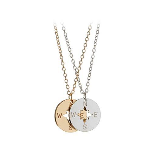 BESTOYARD Compass Necklace Amistad Compass Necklace para Mujeres Hombres Compass Jewelry Mejores Amigos Graduación Cumpleaños Collares Regalos (Plata y Oro)