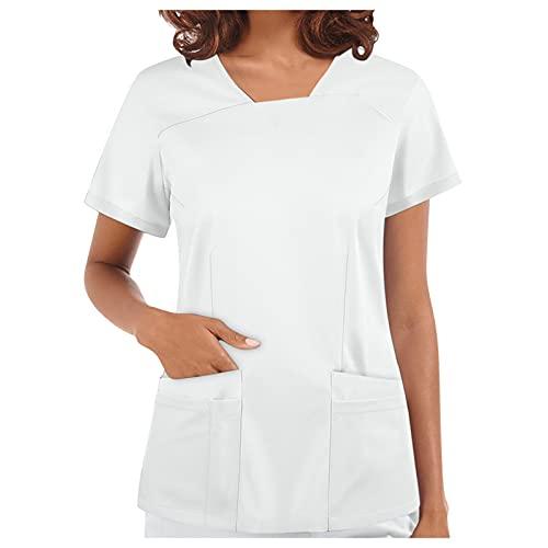 Kasacks - Bata de mujer para el verano, otoño, cuello en V, manga corta, bata de laboratorio, monocolor, ropa para mujer con dos bolsillos, uniforme