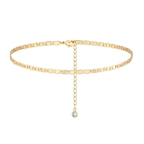 WEARON 14K Gold Plated Mariner Chain Choker Short Chain Necklace Dainty Jewelry for Women 16''(choker-M-gold)