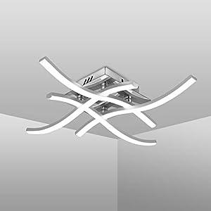 LED Ceiling Light, Elegant Curved Design Ceiling Lights, 4 Built-in LED Boards, 24W 2.000 Lumen, Neutral White Light 4000K, Modern Ceiling Fixture for Living Rooms and Bedrooms 220V IP20