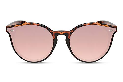 Cheapass Gafas de Sol Redondas Montura Leopardo Cristales Espejados Rosas con Esquinas Especiales Retro UV 400 Mujeres