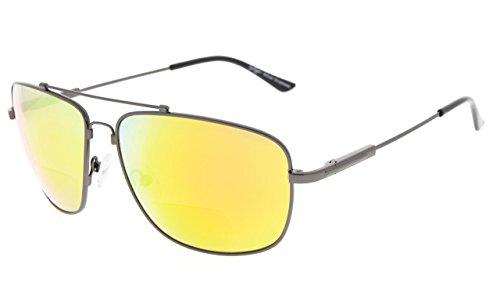 Eyekepper Memory Bifocal Zonnebril Flexibele Titanium Lezen Zonnebril +2.50 Gunmetal Frame Oranje Spiegel