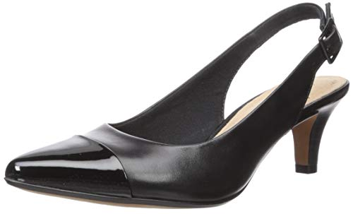 Clarks womens Linvale Emmy Pump, Black Leather/ Synthetic, 5.5 US