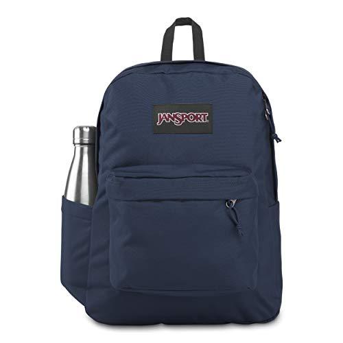 JanSport SuperBreak Plus Laptop Backpack in Navy - 15' Internal Sleeve with Front Organiser and Side Water Bottle Pocket - Padded Straps - 25 L