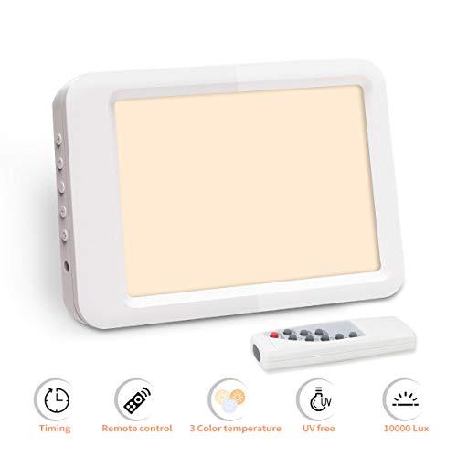 Qcore daglichtlamp 10000 lux daglichtlamp, led-lichtdouche nachtlampje met standaard afstandsbediening, simuleert daglicht met 3 helderheidsmodi, hoge lichtopbrengst, compensatie van de lichtval