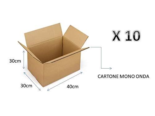 10 SCATOLE DI CARTONE 40X30X30 cm - IMBALLAGGIO CARTONE MONO ONDA PER SPEDIZIONI/MAGAZZINO / TRASLOCHI SCATOLA NEUTRO