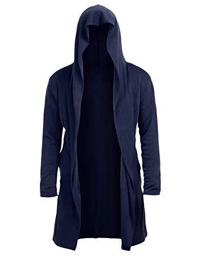 Twinklady Cárdigan de cachemira de manga larga para hombre con capucha y frente abierto, Azul marino, Small