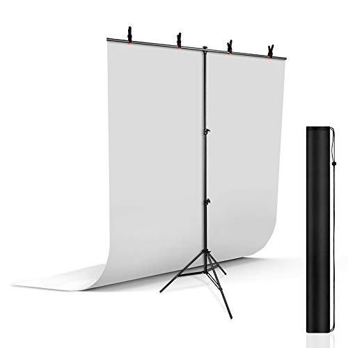 UTEBIT T-Form Hintergrund Ständer mit 5x6.5ft Photography Background Weiss und 4 Stück Klemmzwingen für Studio Hintergrundsystem Tragbar Verstellbarer 2m Fotohintergrund Ständer mit Tripod Bag