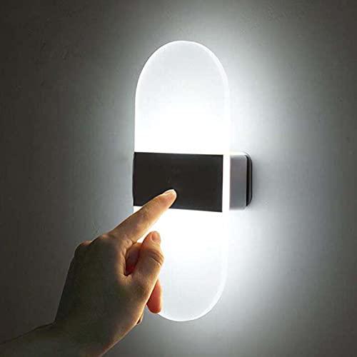 SJNSJN 2.8W Aplique Pared Interior LED con Interruptor y Puerto USB Control Táctil Regulable Lámpara de Pared Moderna Iluminación Interior para Salon Dormitorio Sala Pasillo (Blanco Frío 2 piezas)