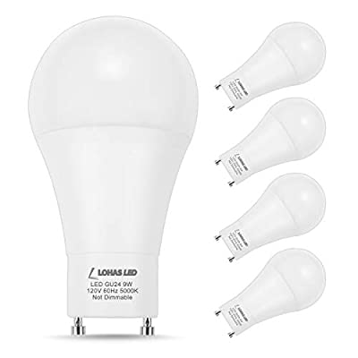 LOHAS GU24 LED Bulb, A19 LED Light Bulbs, 60 Watt Equivalent Daylight 5000K, CFL Replacement, 9W 810LM LED Lights, 240 Degree Beam Angle, for Home Lighting (Pack of 4)