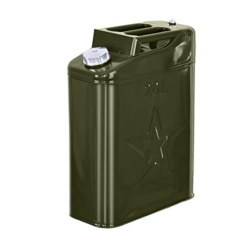 Vehpro 5 Gallon 20L Steel Gas Tank Can Gas Can Power Emergency Backup Tank with Convenient Nozzle(Green )