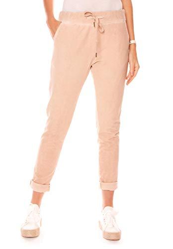 Easy Young Fashion Damen Hose Jogginghose Lang Sporthose Vintage Freizeit Sweatpants Baumwolle Hellrosa S 36