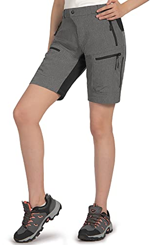Cycorld MTB Shorts Damen MTB Hose, Lose Passen Radhose Reißverschluss Taschen Fahrradhose Damen Mountainbike Shorts (Dunkelgrau, L)