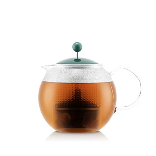 Bodum 1830-450-Y21 ASSAM - Tetera de pistón, asa de cristal, tapa y filtro de plástico, 1,0 l