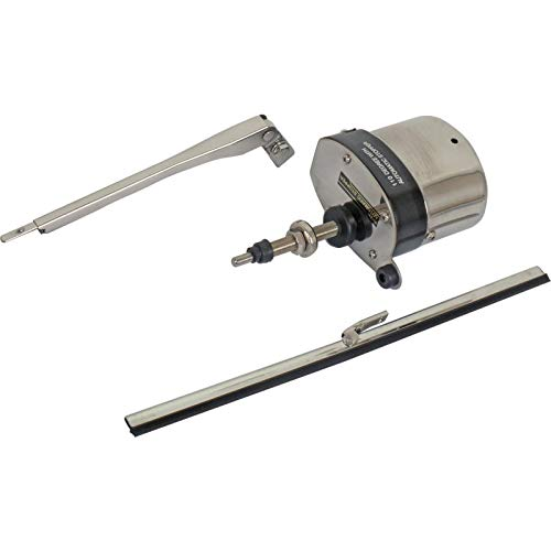 MACs Auto Parts 47-94010 12 Volt Wiper Kit With Motor, Arm, And Blade, Stainless Motor Cover