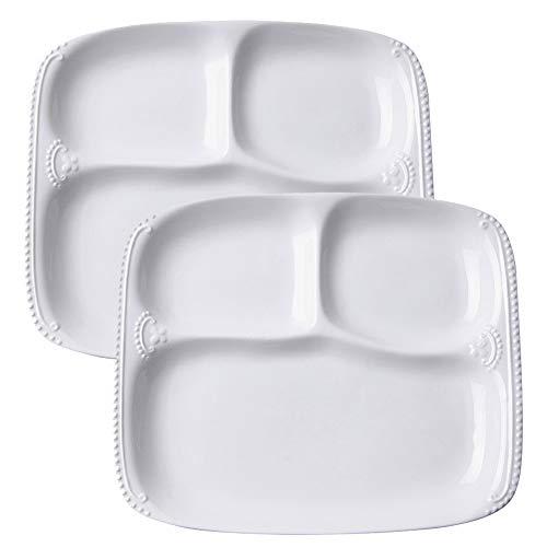 """TAMUME Assiette en Porcelaine Blanche avec 3 Compartiments pour Une Personne, Plateau Rectangulaire 3-en-1 avec Motif à Perles - 10"""" * 8.5"""" * 1"""""""