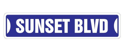 Sunset BLVD Street Sign Los Angeles California Hollywood LA | Indoor/Outdoor |  36' Wide