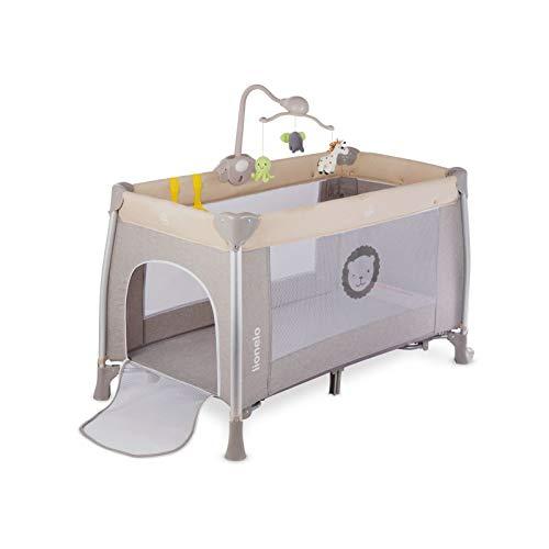 Lionelo Simon 2in1 Reisebett Baby, Laufstall Baby ab Geburt bis 15kg, Spielkarussell mit Spielzeug, Moskitonetz, zusammenklappbar (Sand) - 3