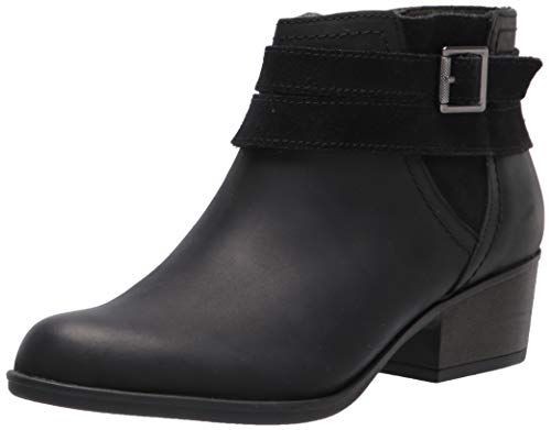 Clarks Women's Adreena Show Ankle Boot, Black Leather, 8.5 Wide