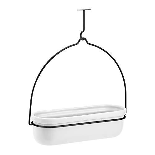 AmazonBasics - Macetero colgante, ovalado, blanco/negro