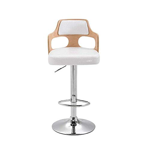 KISlink Leather Bar Chairs Kitchen Stoolwith Backrest - Modern Design Swivel Barstools Gas Lift Stools For Kitchen Counter Degree Swivel-White