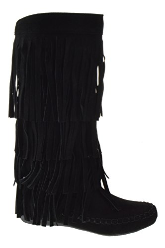 AXNY Mudd 55 Womens 4 Layer Fringe Moccasin Mid-Calf Boots,Black,8