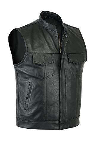 Leatherick SOA Gilet da Motociclista in Vera Pelle da Uomo in Pelle per Equitazione e Gilet con Taglio alla Moda, con Tasche Profonde (XL - EUR56)
