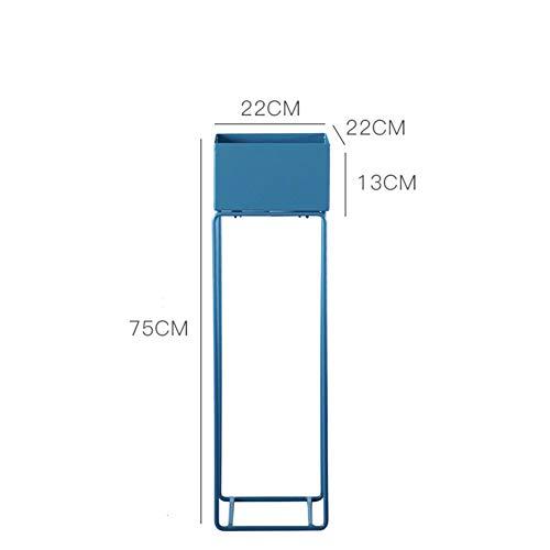 PeiQiH Escalera para Flores Metal Estante De Visualización con Piernas,Hierro Estantería para Plantas Cama Garden Elevado Planter Box para Comedor Salón Oficina Azul 22x22x75cm(8.7x8.7x29.5inch)