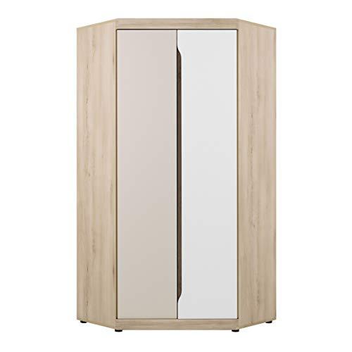 MHF Smart 7 - Armario esquinero de 93 cm de ancho con 2 puertas y estantes modernos para habitación de los niños