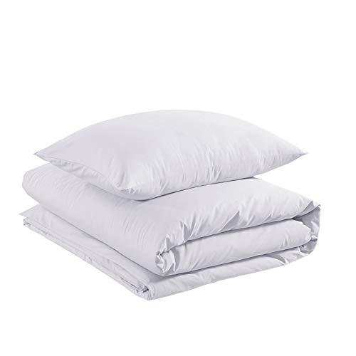 Amazon Basics - Juego de funda nórdica 100% algodón supersuave - 135 x 200 cm / 50 x 80 cm, Blanco